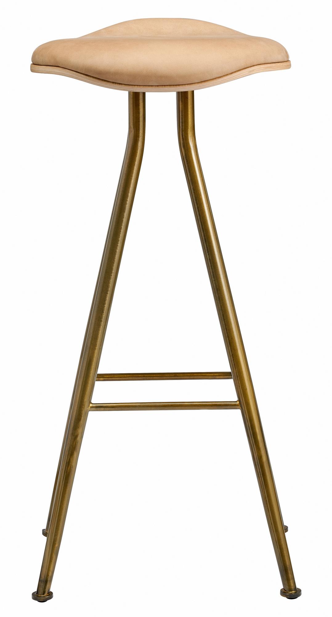 Barfly Bar Chair Low Barhocker Norr11 Messing Vintage Leder Camel