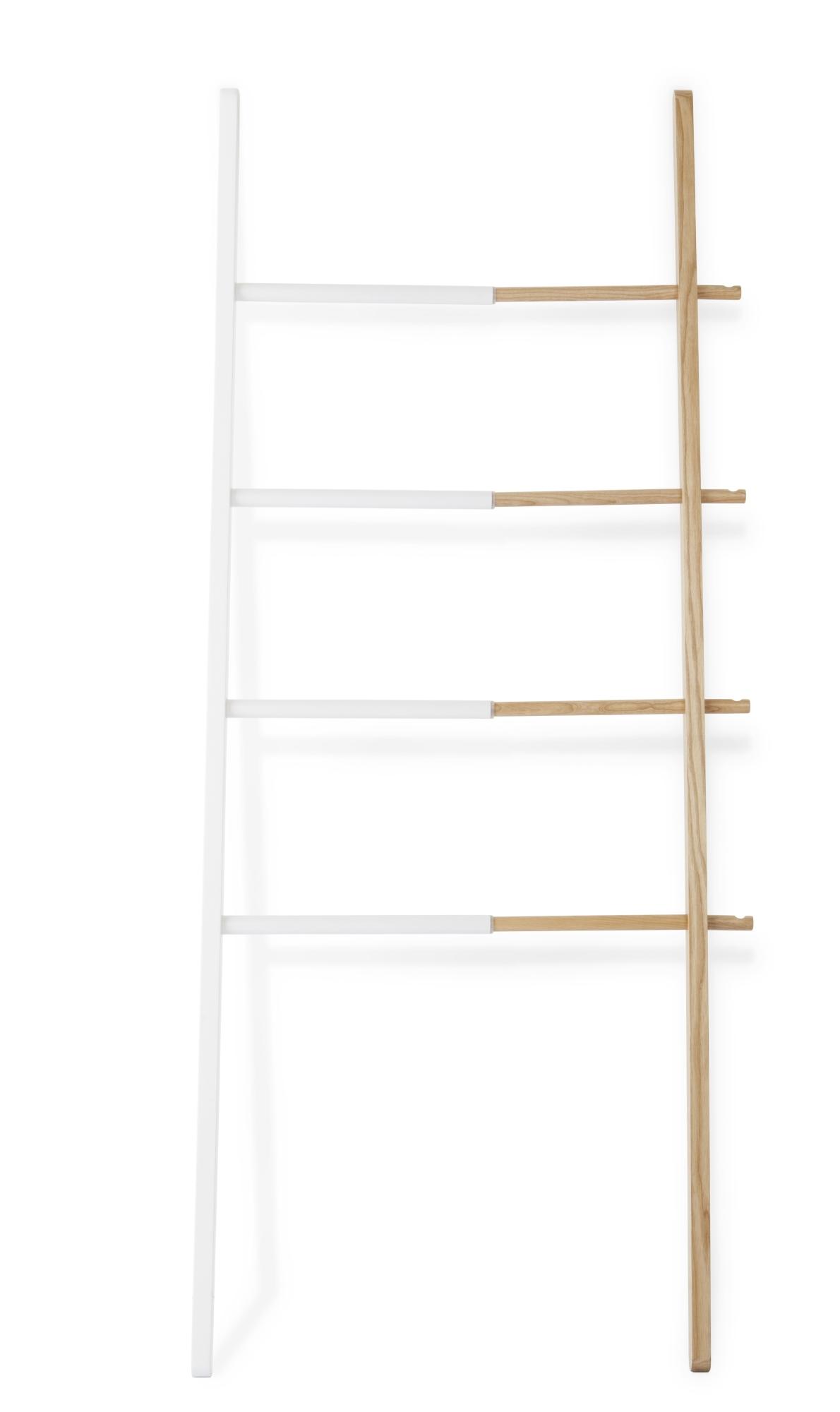 Hub Ladder Handtuch-/Kleiderleiter weiß-natur Umbra