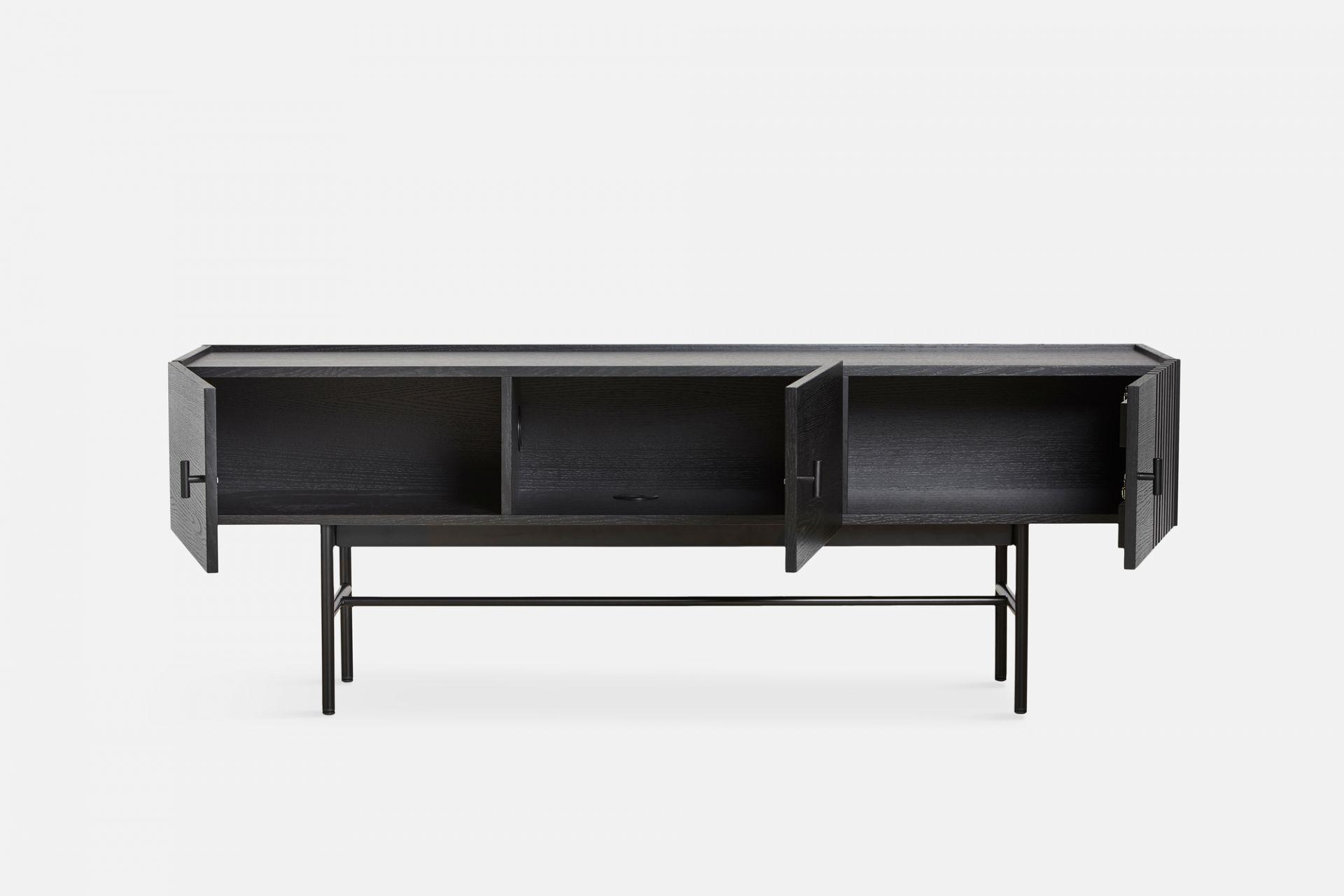 Array Low Sideboard (150cm) Schwarz Lackierte Eiche Woud