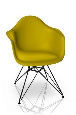 Eames Plastic Arm Chair DAR Stuhl Vitra Schwarz - Senf