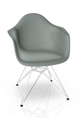 Eames Plastic Arm Chair DAR Stuhl Vitra Verchromt - Hellgrau