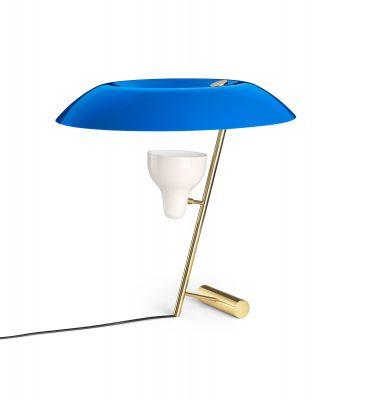 Model 548 Tischleuchte Poliertes Messing mit Azurblauen Diffusor Astep