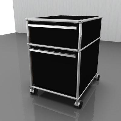 USM Haller Rollcontainer mit Hängeregistratur graphitschwarz