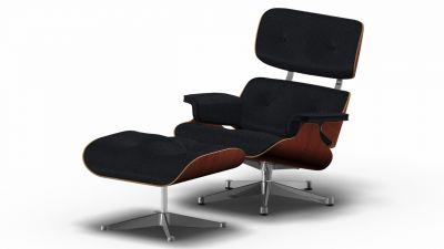 Eames Lounge Chair & Ottoman Sessel Premium nero / Nussbaum schwarz pigmentiert / Poliert Vitra EINZELSTÜCK