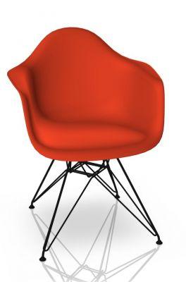 Eames Plastic Arm Chair DAR Stuhl Vitra Schwarz - Poppy red