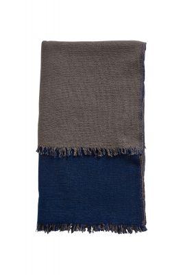 Double Throw Decke Marineblau/Terra Beige Woud