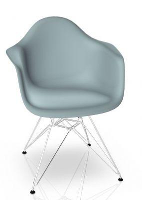 Eames Plastic Arm Chair DAR Stuhl Vitra Verchromt - Eisgrau